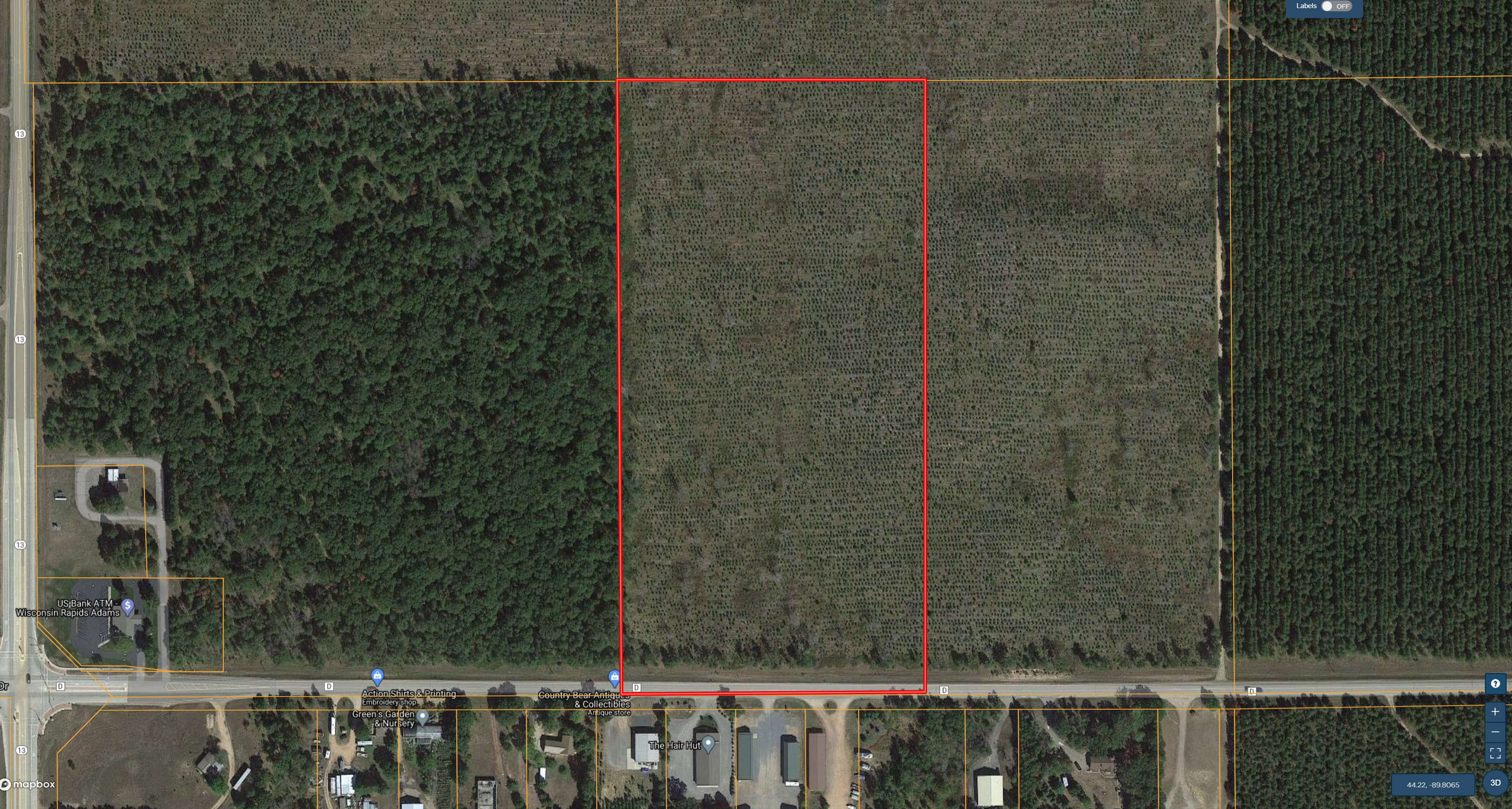 Town of Rome 20 acre timber lot for sale in Adams County WI