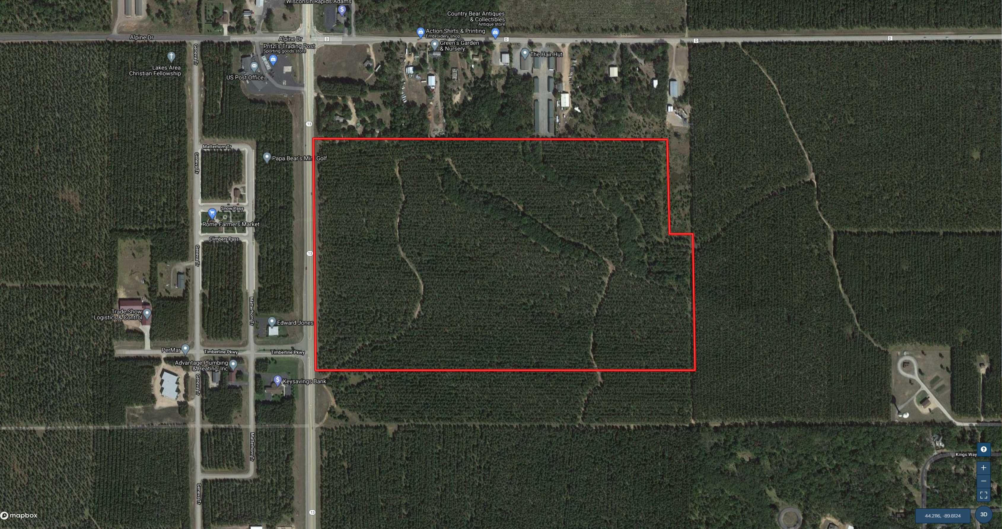 Town of Rome 90 acre timber tract for sale in Adams County WI
